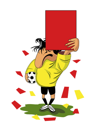 beings: The football (soccer) referee shows a red card.