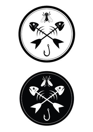 allegorical: Allegorical sign of fishing in black and white variation