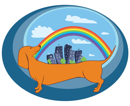 greenpeace: Dog, town and rainbow