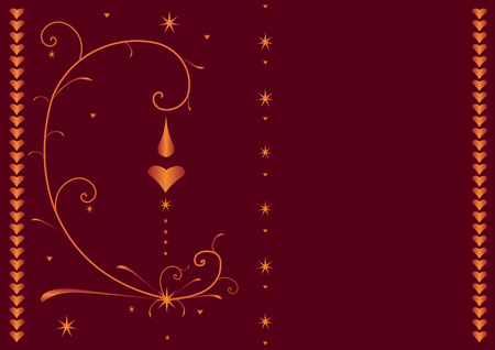 Valentane�s card with ornamental pattern of hearts, spirals and stars Vector