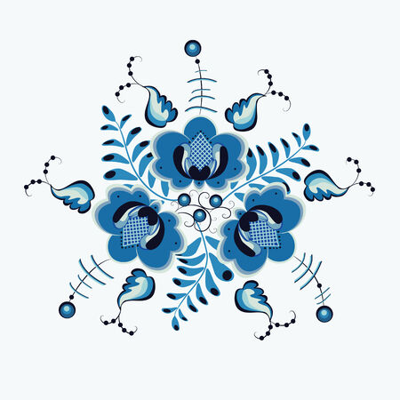 Floral background in blue colors. Vector