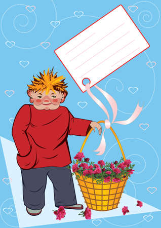 Boy with the basket of roses photo