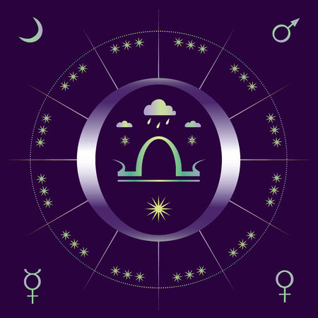 equinox: Allegorical illustration of autumnal equinox with sign of Libra and signs of planets