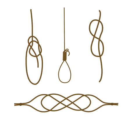 Bowline knot, timber hitch, figure of eight knot and hawser bend.