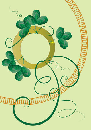 Theme fo St. Patrick's Day with leaves of clover (shamrock) Stock Vector - 2589796