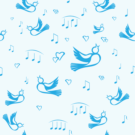 seamless pattern with birds, hearts and notes Vector