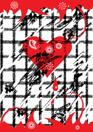 heart and grid Vector