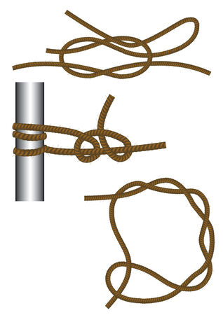 sailer: Sea knots: reef, round turn and half hitches and timber hitch.