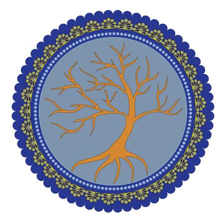 生命の神秘的な木の寓意的な図のパターン。  イラスト・ベクター素材
