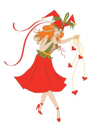 Columbine juega con el corazón  Ilustración de vector