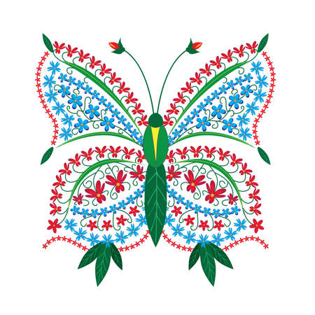 herbage: butterfly pattern of flowers
