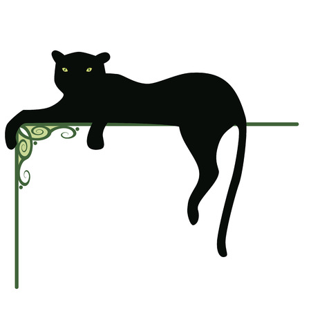 black panthers: banner with the black panther and pattern for corner element