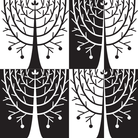 allegorical: allegorical tree in black and white colors