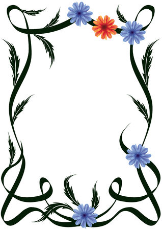 frame of flowers, stems and leaves Illustration