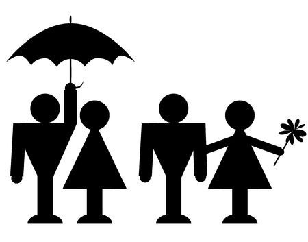 illustration of the loving couple in style of pictogram Stock Vector - 3180085