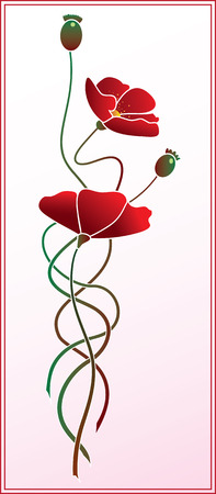 poppy seeds: Illustration of flowers of poppy
