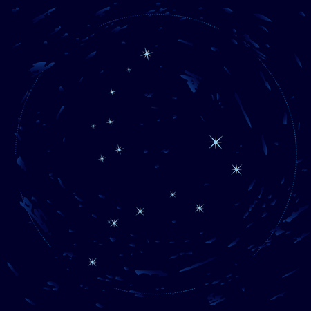 polaris: Illustration of constellations Ursa Minor and Ursa Major (Big Dipper)