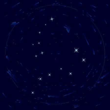 ursa: Illustration of constellations Ursa Minor and Ursa Major (Big Dipper)
