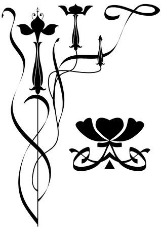 fuchsia: stylized illustration of the flowers