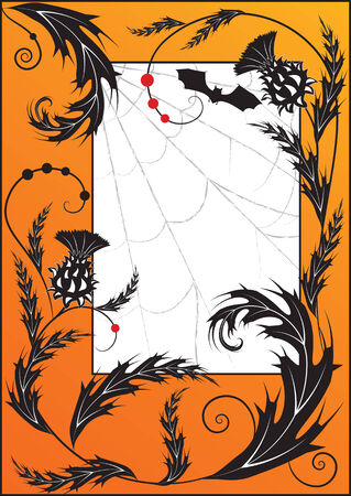 Halloween illustration with  thistle, spiderweb  and bat