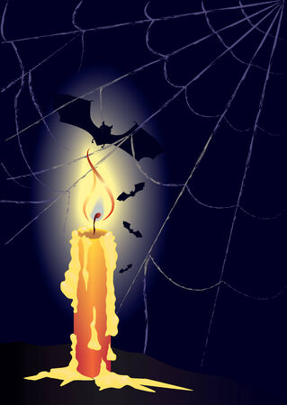 superstitions:  illustration with candle, bats and spiderweb