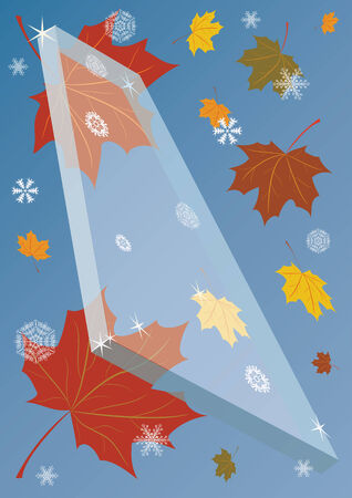 autumnal background with piece of glass, maple and snowflake Stock Vector - 3417903