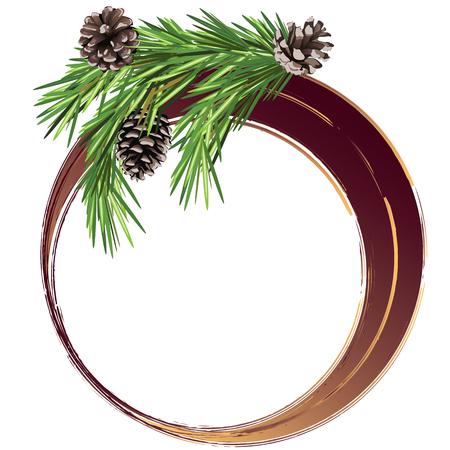 fir cone: Navidad y A�o Nuevo banner con la rama de abeto