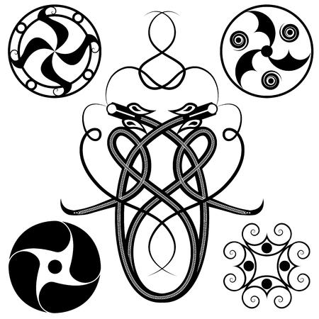 celtic mythology: set of celtic patterns: dragons and circles Illustration