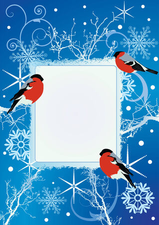 New Year greeting card with bullfinches