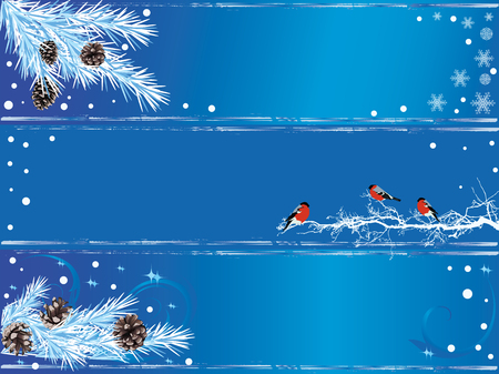 animal winter: New Year banners with firs branches and bullfinches Illustration