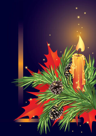 Christmas card with candle and fir branch