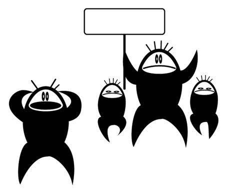 反対: トラブルの抽象的な漫画イラスト