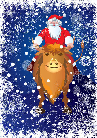 Santa Claus rides on the bull - Chinese sign of 2009 year Stock Vector - 3797400