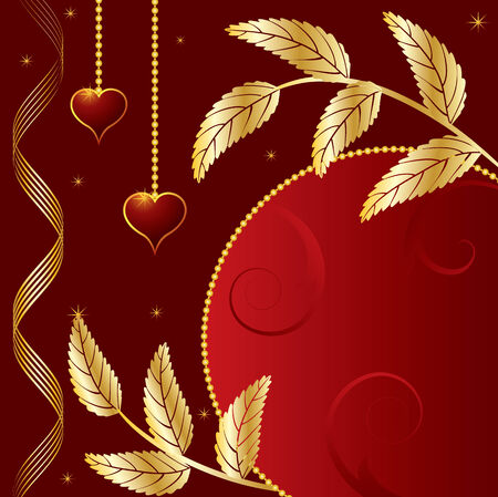 St. Valentine's Day banner with hearts and golden leaves Stock Vector - 3938977