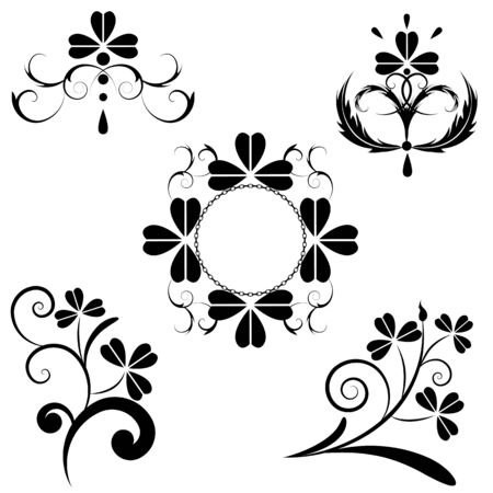 set of the floral design with clover Vector