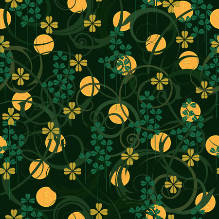 St. Patrick's Day seamless pattern with clover  and coins Stock Vector - 4106444