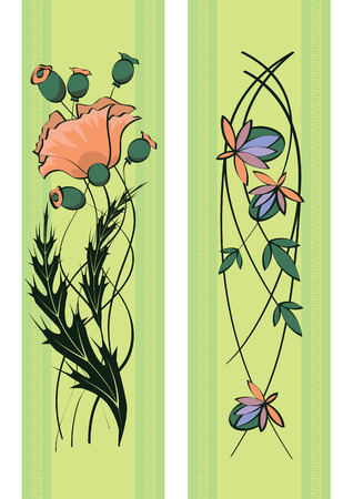 set of art nouveau floral patterns Vector