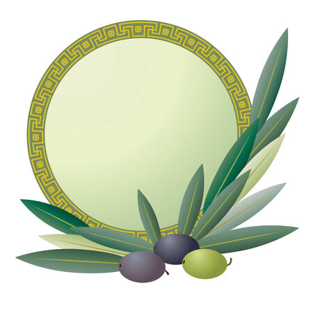 greek: banner with the olive pattern Illustration