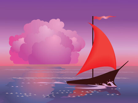 sailer: yacht at sea sunset  Illustration