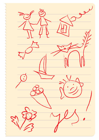 sweetmeat: page of the notebook with funny pictures