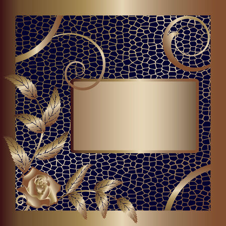 gold frame with rose and grid Vector