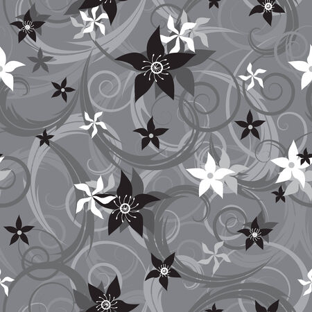 Grayscale seamless pattern with flowers Vector