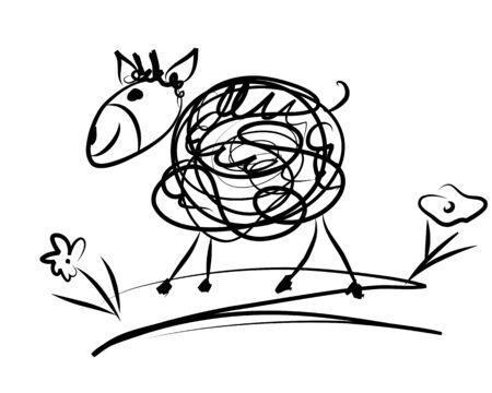 garabatos: divertida ilustraci�n de la oveja