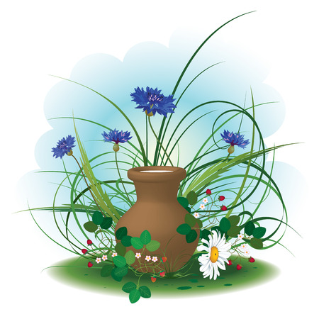 earthenware: daisy, cornflowers, strawberry and earthenware pot of milk