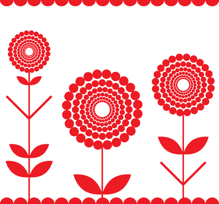 seamless red fringe with stylized flowers Vector