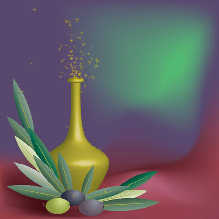 decanter: still life with olive and decanter Illustration