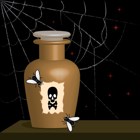 bottle of poison and flies Vector
