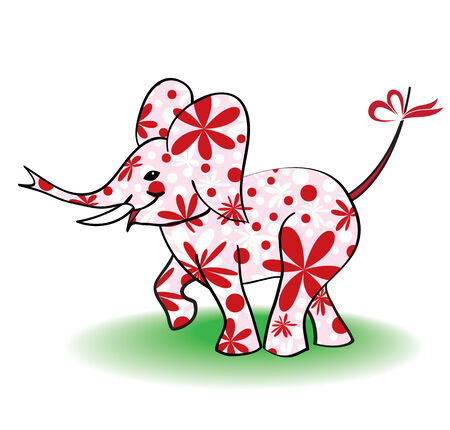 funny pink elephant with floral pattern Vector