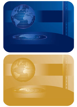 set of abstract patterns with globe Vector