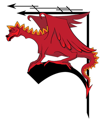 illustration of dragon for corner design Vector